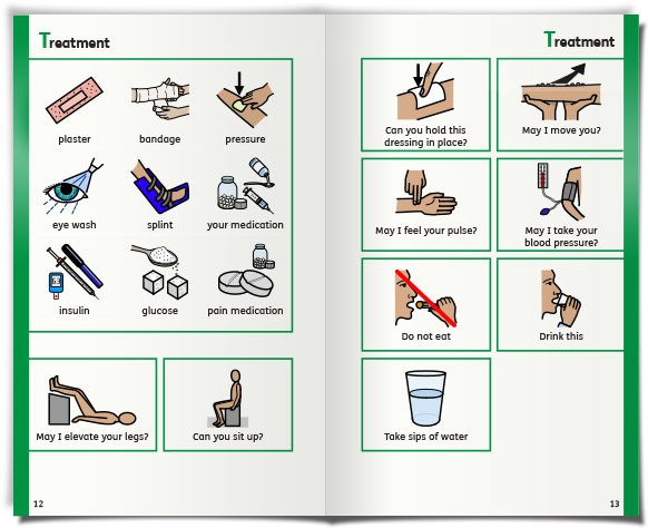 widgit health   first aid communication book   treatment
